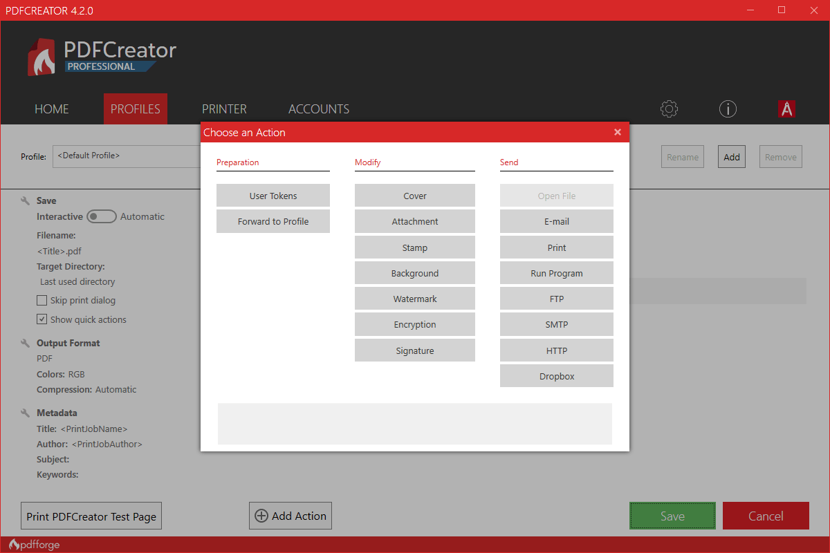 PDFCreator add new action in workflow editor