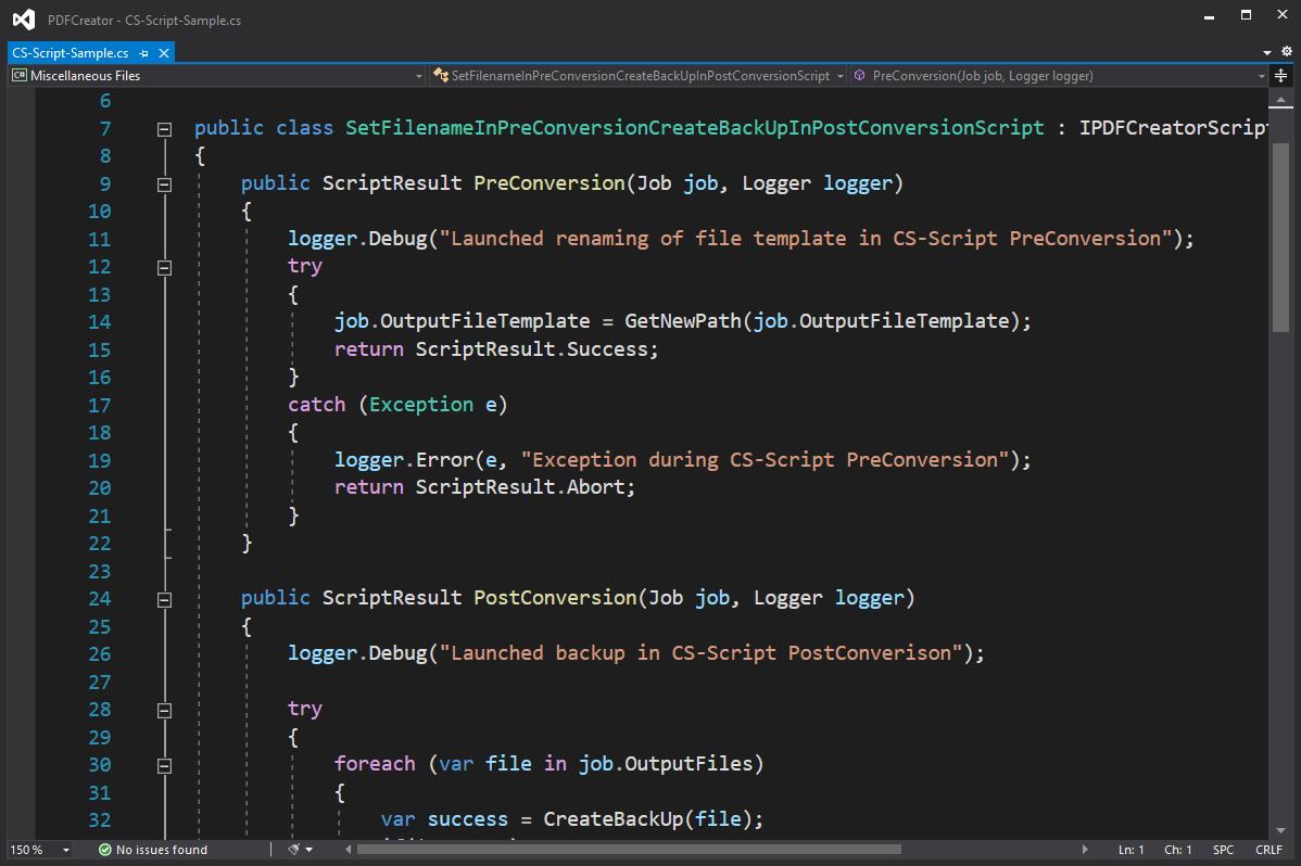 CS-Script sample PDFCreator 4.4