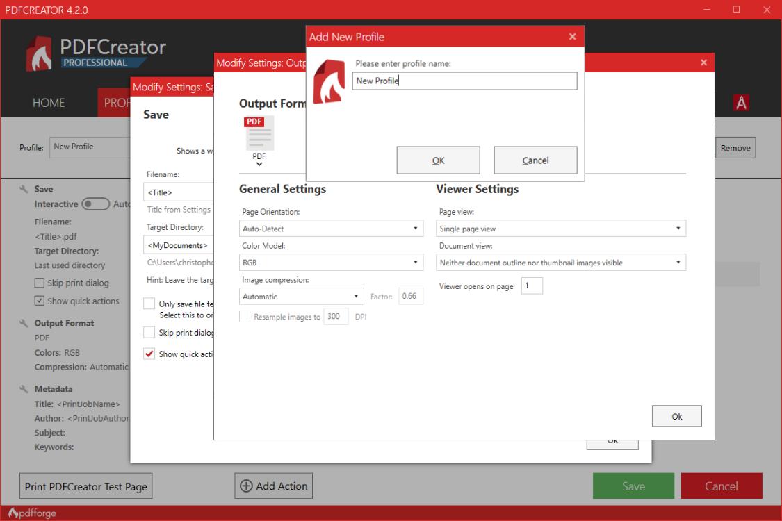 pdfcreator add new profile