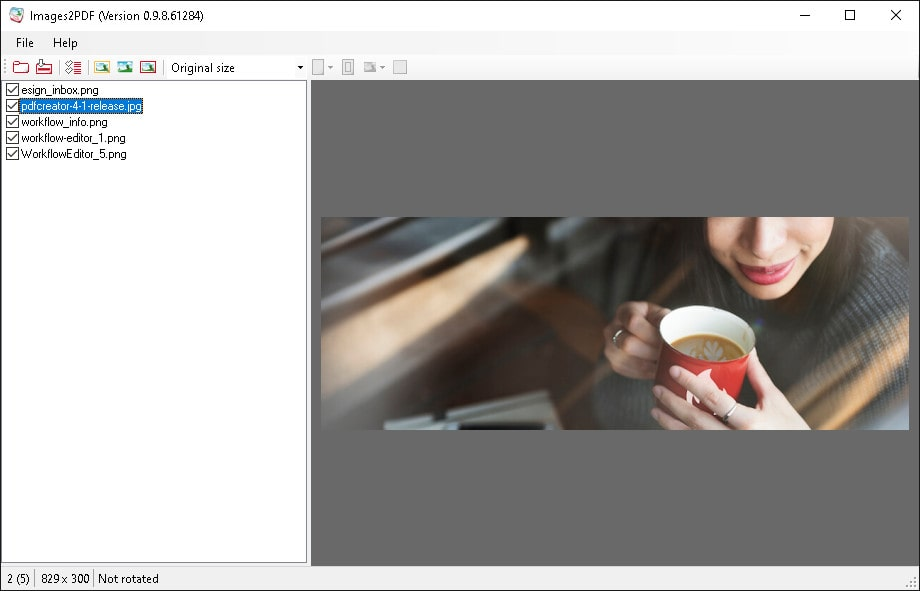 images to pdf main window