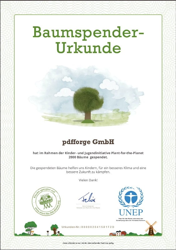 plant for the planet certificate 2020