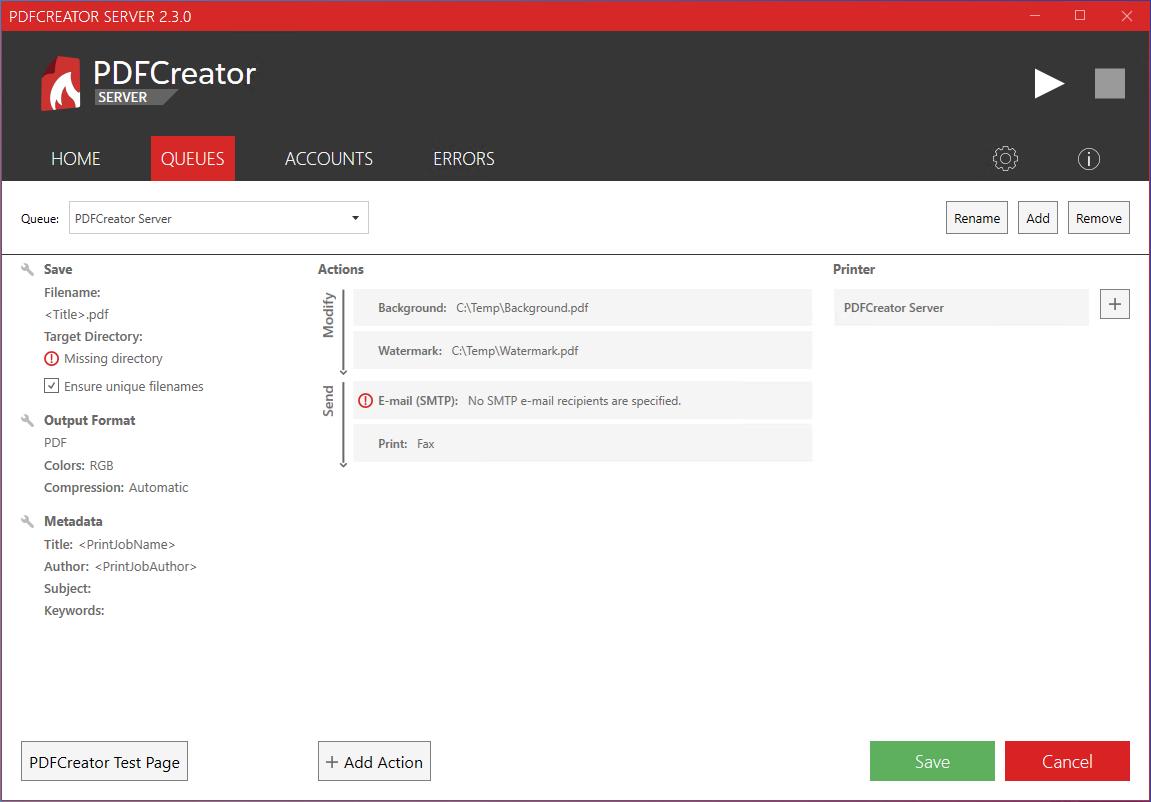 pdfcreator server password strength