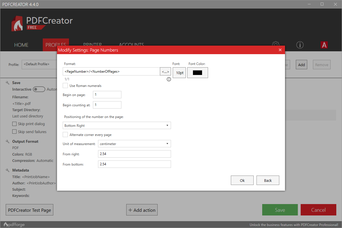 Page number settings PDFCreator 4.4